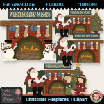 Christmas Fireplaces 1 Clipart - CU
