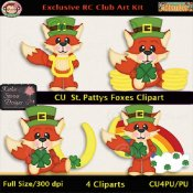 St. Patty's Foxes Clipart - CU