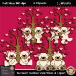 Tattered Teddies Valentines 4 Clipart - CU