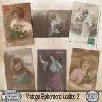 Vintage ephemera Ladies post cards 2