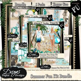 SUMMER FUN SCRAP KIT BUNDLE TAGGER SIZE
