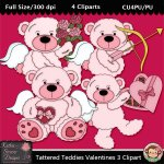 Tattered Teddies Valentines 3 Clipart - CU