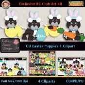 Easter Puppies 1 Clipart - CU