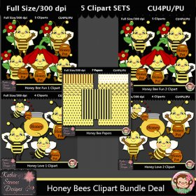 Honey Bees Clipart Bundle Super Deal - CU