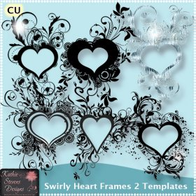 Swirly Heart Frames 2 Templates FS - CU