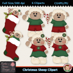 Christmas Sheep Clipart - CU