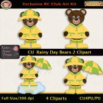 Rainy Day Bears 2 Clipart - CU