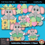 Celebration Elelphants 2 Clipart - CU