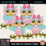 Hoot Owls On A Branch 2 Clipart - CU