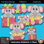 Celebration Elelphants 3 Clipart - CU