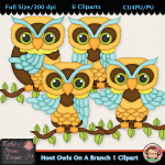 Hoot Owls On A Branch 1 Clipart - CU