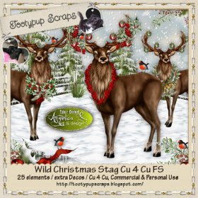 Wild Christmas Stags Cu 4 Cu FS