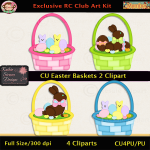 Easter Baskets 2 Clipart - CU
