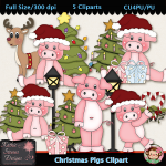 Christmas Pigs Clipart - CU