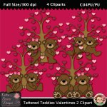 Tattered Teddies Valentines 2 Clipart - CU
