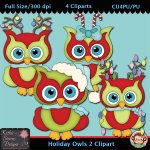 Holiday Owls 2 Clipart - CU