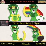 St. Patty's Bears 2 Clipart - CU