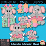 Celebration Elelphants 1 Clipart - CU
