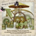Retro Holiday Picnic GREEN Cu 4 Cu FS