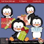 Penguin Boys Presents 1 Clipart - CU