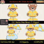 Rainy Day Bears 1 Clipart - CU