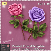 Painted Roses 1 - Layered Template CU