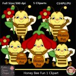 Honey Bee Fun 1 Clipart - CU