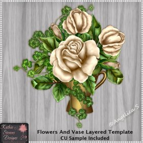 Flowers And Vase Layered Template CU