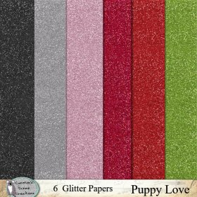 Puppy love glitter papers