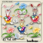 CU Vol. 375 Easter Rabbit Bunny Flowers by Lemur Designs