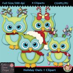 Holiday Owls 1 Clipart - CU