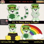 St. Patty's Bears 3 Clipart - CU