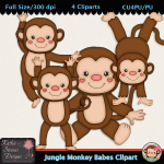 Jungle Monkey Babes Clipart - CU