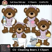 Cleaning Bears 2 Clipart - CU
