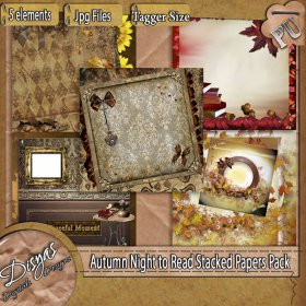AUTUMN NIGHT TO READ STACKED PAPER PACK - TAGGER SIZE
