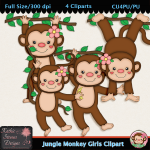 Jungle Monkey Girls Clipart - CU