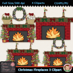 Christmas Fireplaces 3 Clipart - CU