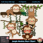 Jungle Monkey Boys Clipart - CU