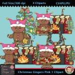 Christmas Gingers Pink 1 Clipart - CU