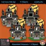 Haunted Houses 1 Clipart - CU