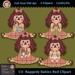 Raggedy Babies Red Clipart - CU