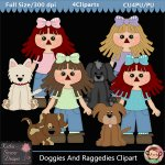 Doggies And Raggedies Clipart - CU