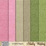 Shabby Wedding glitter papers